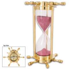 "Ship Wheel Sand Timer And Compass - High-Quality Polished Brass And Glass Construction - Dimensions 7""x 4 1/2"""