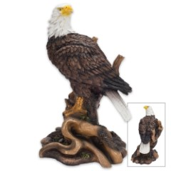 American Bald Eagle on Tree Branch Resin Sculpture