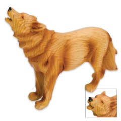 Howling Wolf Simulated Woodcarving Resin Sculpture