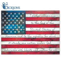 Pledge of Allegiance on Weathered American Flag - Rustic Wooden Sign