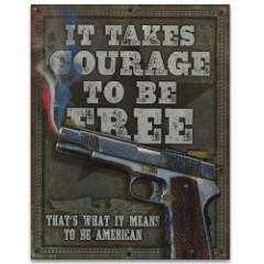 "Patriotic Tin / Metal Sign - Red, White and Blue Pistol Smoke - It Takes Courage to be Free, What it Means to be American - Home / Office Decor - Gift Gun Handgun Second Amendment  - 12 1/2"" x 16"""
