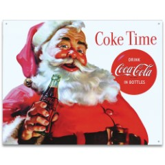 Santa Coke Time Tin Sign - Vibrant Artwork, Corrosion Resistant, Fade Resistant, Rolled Edges, Mounting Holes