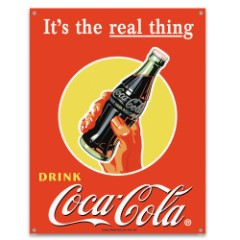 Coke It's The Real Thing Tin Sign – Vibrant Artwork, Corrosion Resistant, Fade Resistant, Rolled Edges, Mounting Holes