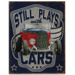"""Vintage Style Tin Sign - Still Plays with Cars -  Antique Red Car Automobile Convertible - Blue Background - Metal Construction, Vibrant Color - Indoor / Outdoor - 12 1/2"""" x 16"""""""