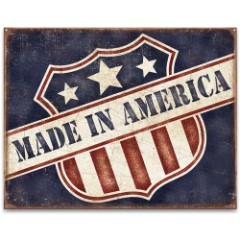 "Vintage Style Tin Sign - Made in America - Stylishly Weathered / Distressed - Patriotic US Flag Man Cave, Home, Bar, Restaurant, Cabin, Club, Office Decor - Indoor / Outdoor - 12 1/2"" x 16"""