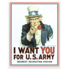 """""""I Want You..."""" Classic Uncle Sam Army Recruitment Art on Vintage-Style Tin Sign - 12 1/2"""" x 16"""""""
