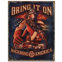 """Vintage Style Tin Sign - Firefighter Tribute - Bring it On / Backbone of America - Axe Fireman Hook and Ladder Firetruck US Flag - Antiqued Weathered - Perfect Gift - Wall Decor - 12 1/2"""" x 16"""""""