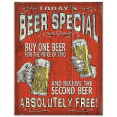 Today's Beer Special... Amusing Vintage-Style Tin Sign