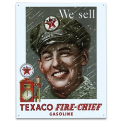 """Vintage Style Tin Sign - We Sell Texaco Fire Chief Gasoline, Pump Attendant - Mid 1900s / 20th Century Ad Placard Replica; Antiqued Weathered - Garage, Bar, Man Cave, Home Decor - 16"""" x 12 1/2"""""""