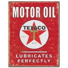 Texaco Motor Oil Vintage Ad Tin Sign - Vibrant Artwork, Corrosion Resistant, Fade Resistant, Rolled Edges, Mounting Holes