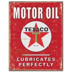 Texaco Motor Oil Vintage Ad Tin Sign – Vibrant Artwork, Corrosion Resistant, Fade Resistant, Rolled Edges, Mounting Holes