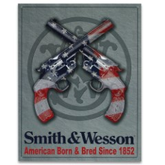 """Vintage Style Tin Sign - Smith & Wesson American Born & Bred Since 1852 - Crossed Revolvers Pistols Handguns; US Flag - Great Gift; Gun Room, Cabin, Hunting Club, Man Cave, Home Decor - 16"""" x 12 1/2"""""""