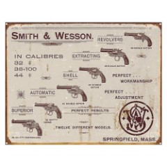 Smith & Wesson Revolvers Vintage Ad Tin Sign – Vibrant Artwork, Corrosion Resistant, Fade Resistant, Rolled Edges, Mounting Holes