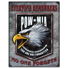 "POW MIA Tin / Metal Sign - Classic POW MIA Insignia, American Bald Eagle - Everyone Remembers, No One Forgets - Patriotic Home / Office Decor - Gift Veterans Military Wall Hang - 12 1/2"" x 16"""