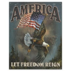 """""""Let Freedom Reign"""" Soaring Eagle Art 12 1/2"""" x 16"""" Tin Sign"""