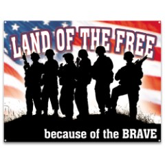 Land Of The Free Tin Sign – Vibrant Patriotic Artwork, Corrosion Resistant, Fade Resistant, Rolled Edges, Mounting Holes