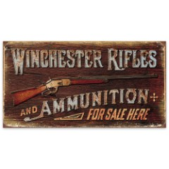 Winchester Rifles and Ammunition For Sale Here Vintage-Style Tin Sign