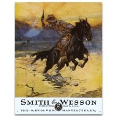 "Vintage Style Tin Sign - Smith & Wesson Revolver Manufacturer, Hostiles - Early 20th Century Ad Replica; Antiqued Weathered; Cowboy Horse Pistol Handgun - Great Gift; Wall Decor - 16"" x 12 1/2"""