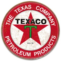 Texaco Filling Station Round Tin Sign - Vibrant Artwork, Corrosion Resistant, Fade Resistant, Rolled Edges, Mounting Holes - Diameter 11 3/4""