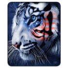 Patriotic White Tiger Faux Fur Blanket – Queen Size