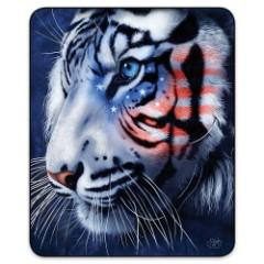 Patriotic White Tiger Faux Fur Blanket – Queen Size