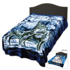 "Two Sided Faux Fur Wolf Themed Blanket - Oversize Queen - 79"" x 96"""