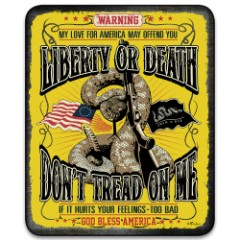 """Don't Tread On Me Liberty Or Death Faux Fur Blanket - Plus Acrylic Material, Color-Saturated Vivid Artwork - Dimensions 70""""x 90"""""""