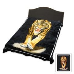 Charging Tiger Acrylic Mink Queen Size Blanket
