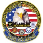 "American Warriors 12"" Diameter Round Aluminum Sign"