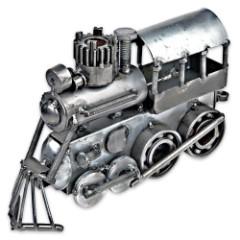Handcrafted Metal Locomotive Sculpture