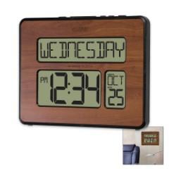 La Crosse Digital Atomic Wall Clock with Date, Indoor Temperature - Walnut Finish