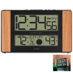 La Crosse Digital Atomic Wall Clock with Date, Temperature, Moon Phase