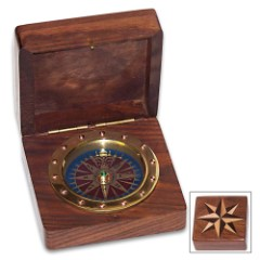 Compass Rose Box And Compass – Wooden Construction, Inlaid Design On Lid, Working Brass Compass, Great Gift Idea