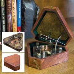 Antique Brass Sundial Compass in Wooden Case - Circa 1750 Replica