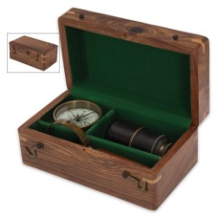 Replica Antique Navigational Instruments in Wooden Display Box