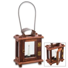 Colonial Wooden Lantern – Historical Reproduction, Glass Door, Metal Hanger, Metal Hinges, Tin Accent – Height 8 1/2""