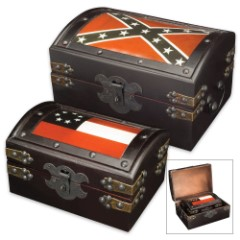 Confederate Battle and National Flags Wooden Trunk Set