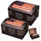 American Flag Rustic Wooden Trunk Set