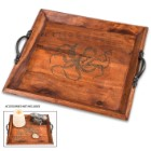 "Octopus Wooden Tray – Antique Look, Black Metal Handles, Burned Design, Dimensions 10 3/4"" X 11 3/4"""