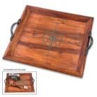 "Compass Rose Wooden Tray – Antique Look, Black Metal Handles, Burned Design, Dimensions 10 3/4"" X 11 3/4"""