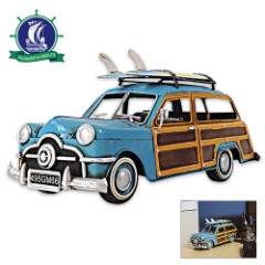 1949 Ford Woody Wagon with Surfboards | Handcrafted Metal Model | 1:12 Scale