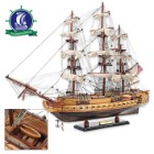 Handcrafted USS Constitution Model on Display Stand | Exotic Wood and Metal Construction