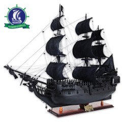 Handcrafted Black Pearl Model on Display Stand | Jack Sparrow's Ship, Pirates of the Caribbean