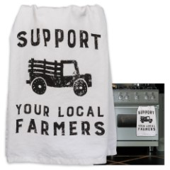 "Support Local Farmers 28"" Square Cotton Dish Towel"
