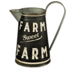 Farm Sweet Farm Large Rustic Metal Pitcher