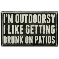 """I'm Outdoorsy 6 1/2"""" x 4"""" Rustic Wooden Box Sign"""