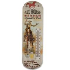 Red Horse Saloon Nostalgic Tin Thermometer