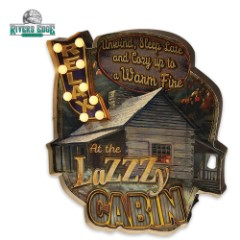 Illuminated Bar Sign - Relax at LaZZZy Cabin- Vibrant, Rustic Art - Cool LED Lighting