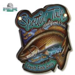 Illuminated Bar Sign - Spottin' Tails Waterfront Grill - Nostalgic Art, Text - LED Lighting