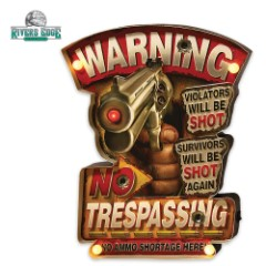 Illuminated Bar Sign - Warning: No Trespassing - Bold, Amusing Text - Vibrant Art - LED Lighting